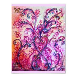 Vermelho brilhante dos FLOURISHES LUNÁTICOS, roxo Convite 10.79 X 13.97cm