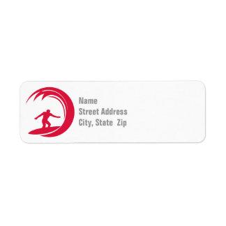 Vermelho carmesim que surfa etiqueta endereço de retorno