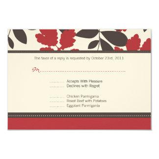 Vermelho + Cartão da resposta do casamento outono Convite 8.89 X 12.7cm