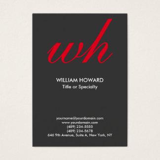 Vermelho cinzento do monograma moderno vertical à cartão de visitas
