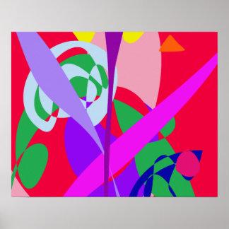 Vermelho corajoso da arte abstracta das cores posters
