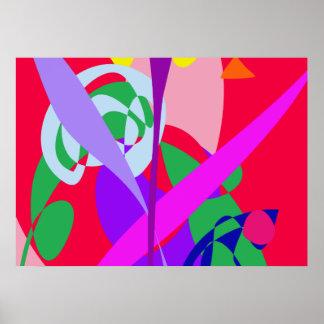 Vermelho corajoso da arte abstracta das cores posteres