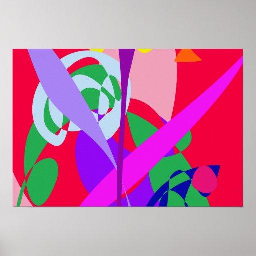 Vermelho corajoso da arte abstracta das cores pôsteres