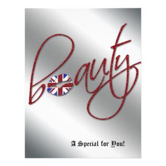 Vermelho da bandeira de Union Jack do cabelo do in Panfleto Personalizado