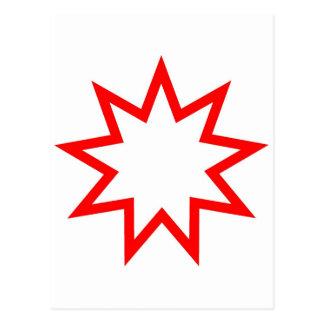 Vermelho da estrela de Bahai Cartão Postal