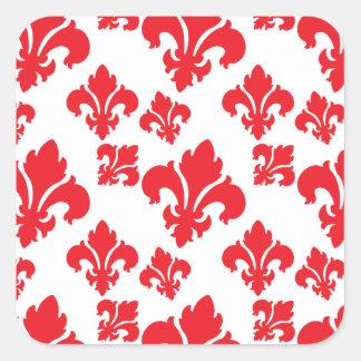 Vermelho da flor de lis 4 adesivos quadrados