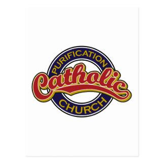 Vermelho da igreja Católica da purificação no azul Cartão Postal
