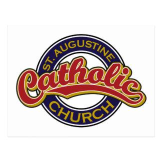 Vermelho da igreja Católica de St Augustine no azu Cartoes Postais