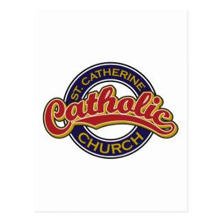 Vermelho da igreja Católica do St. Catherine no Cartão Postal