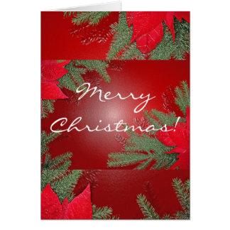 Vermelho da poinsétia do Natal em inglês Cartão