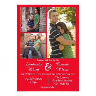 Vermelho de 3 fotos - convite do casamento
