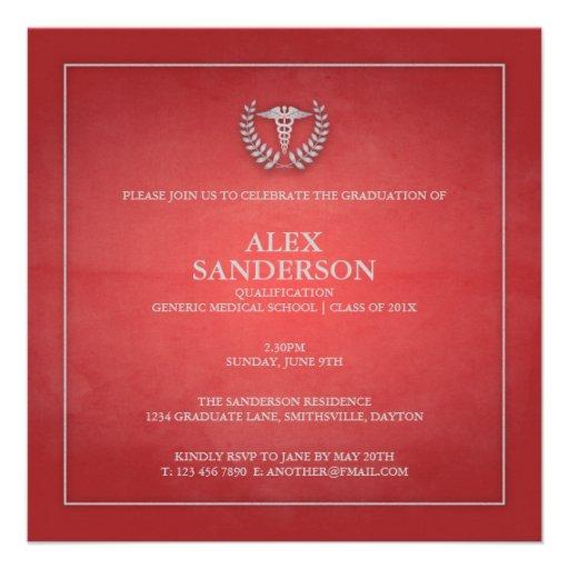 Vermelho do anúncio | da graduação da Faculdade de Convites Personalizados