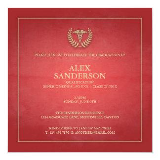 Vermelho do anúncio   da graduação da Faculdade de Convite Quadrado 13.35 X 13.35cm