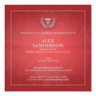 Vermelho do anúncio | da graduação da Faculdade de Convite Quadrado 13.35 X 13.35cm