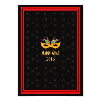 Vermelho do carnaval do jazz de Nova Orleães Convite 12.7 X 17.78cm