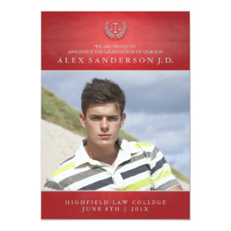 Vermelho do cartão com fotos   da graduação da convites personalizados