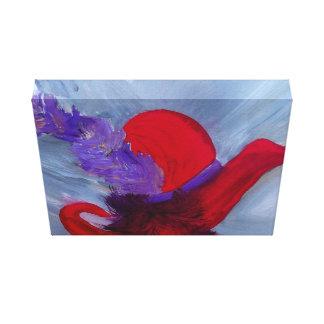 vermelho do chapéu do conjunto impressão em tela canvas