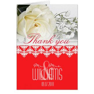 Vermelho do damasco dos cartões de agradecimentos