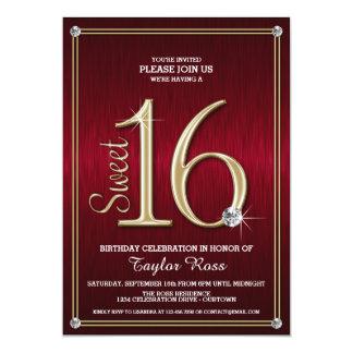Vermelho do doce 16/convites de festas metálicos convite 12.7 x 17.78cm