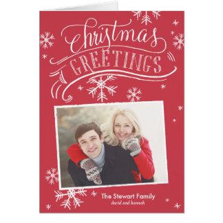 Vermelho do feriado do floco de neve da foto dos cartão comemorativo