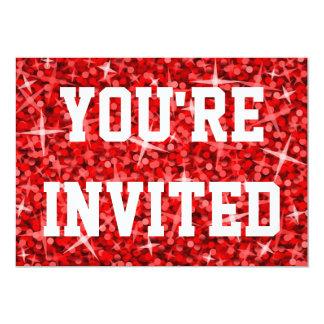 Vermelho do Glitz você é texto convidado do branco Convite 12.7 X 17.78cm