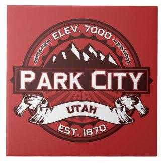 Vermelho do logotipo de Park City Azulejo Quadrado Grande