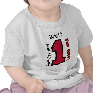 VERMELHO do menino do primeiro aniversario um nome Camiseta