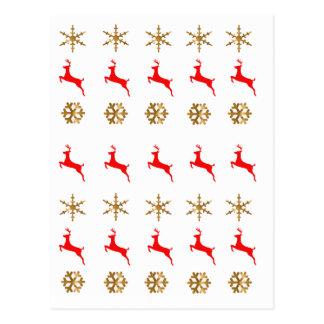 Vermelho do ouro do floco de neve da rena do Natal Cartões Postais