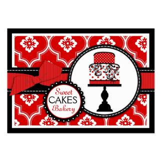 Vermelho doce do cartão de visita do bolo