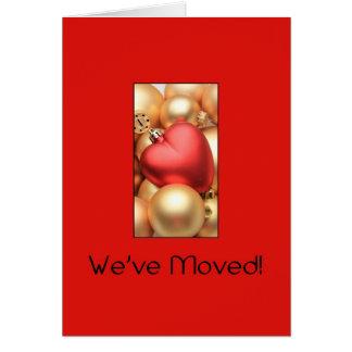 Vermelho e anúncio do endereço dos ornamento do cartão comemorativo