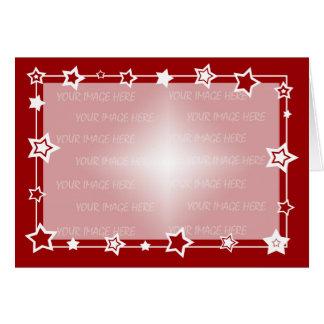 Vermelho e branco Stars a beira do cartão de Natal