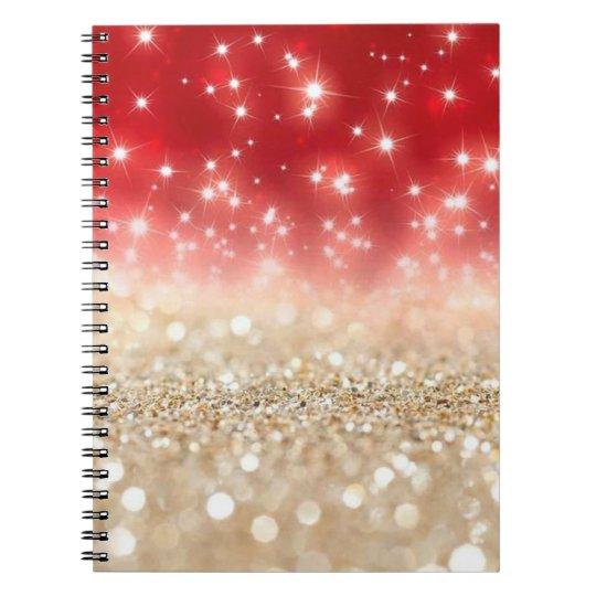 Vermelho e brilho do ouro cadernos espirais