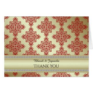 Vermelho e cartões de agradecimentos indianos do