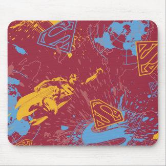 Vermelho e laranja com colagem azul mouse pad