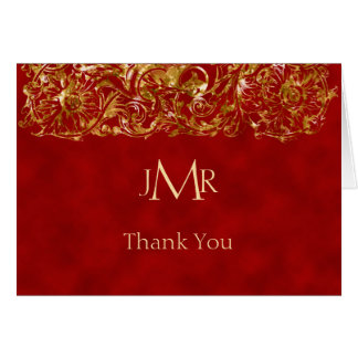 Vermelho e obrigado do aniversário do ouro 40th cartão de nota