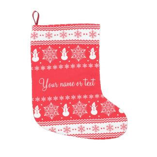 Vermelho e White Christmas Meia De Natal Pequena