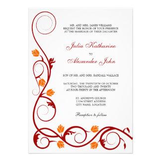 Vermelho elegante e a laranja rodam convite do cas