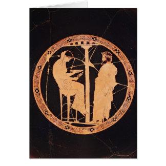 Vermelho-figura ateniense kylix que descreve cartão comemorativo