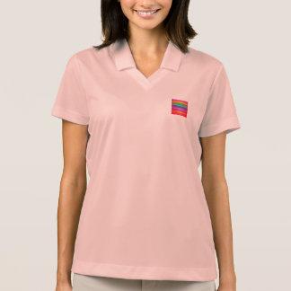Vermelho horizontal da arte das listras camisa polo