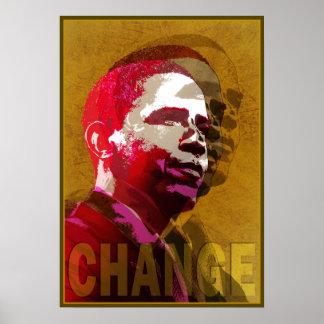 Vermelho & ouro de Barack Obama Poster