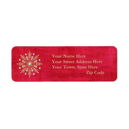 Vermelho & ouro dos flocos de neve do Natal Etiqueta Endereço De Retorno