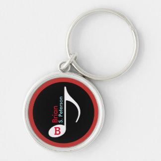 vermelho personalizado da nota musical chaveiro redondo na cor prata