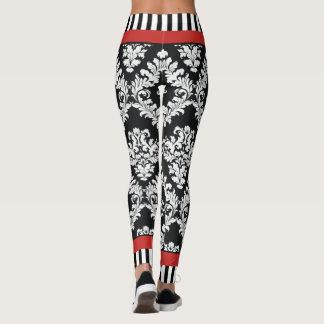 Vermelho preto e branco moderno da cor damasco leggings