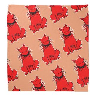 vermelho puro do cão do estilo dos desenhos bandanas