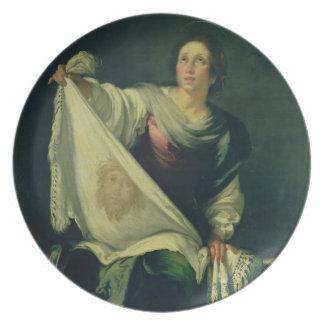 Veronica do St., 1625-30 (óleo em canvas) Louça De Jantar