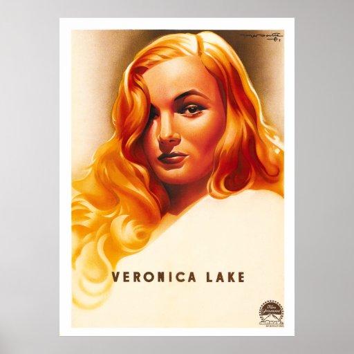 Veronica Lake - cartaz cinematográfico do francês  Impressão