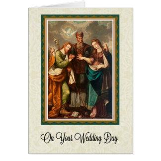 Verso católico do cartão de casamento w/scripture