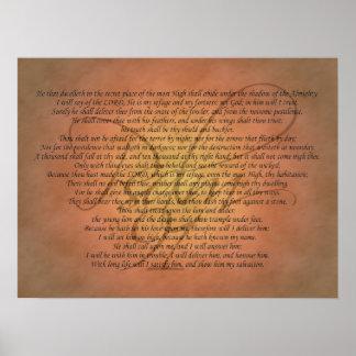 Verso da bíblia do salmo 91 poster