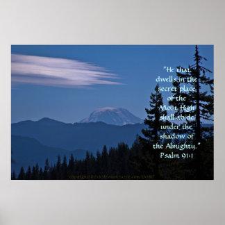 Verso do esplendor w Scripture do Mt Adams Posteres