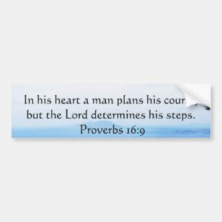 Verso inspirado da bíblia do 16:9 dos provérbio adesivo para carro